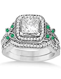 Emerald Square-Halo Milgrain Bridal Set Palladium (0.51ct) (No center stone included)