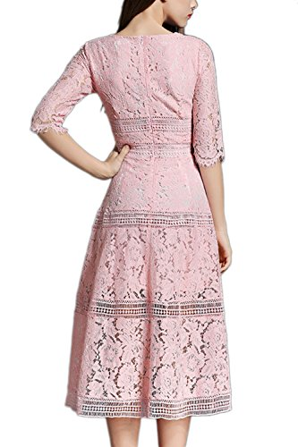 Élégante dentelle Half Sleeve de la femme Swing robe Maxi