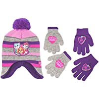 Nickelodeon Little Girls Paw Patrol Character Hat and 2 Pair Mittens or Gloves Cold Weather Set, Age 2-7