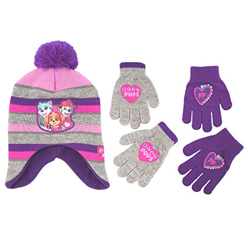 Nickelodeon Little Girls Paw Patrol Character Hat and 2 Pair Mittens or Gloves Cold Weather Set, Age 2-7 (Little Girls Age 4-7 Hat & 2 Pair Gloves Set, Grey/Purple)