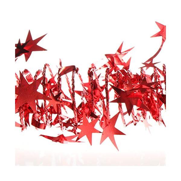 com-four® 4X Spirale Decorativa con Stelle - Ghirlanda di Stelle a Forma di Spirale per Natale - Ghirlanda Natalizia per Decorazioni per Alberi di Natale - 7,5 m ciascuna (Rosso - 4 Pezzi) 2 spesavip