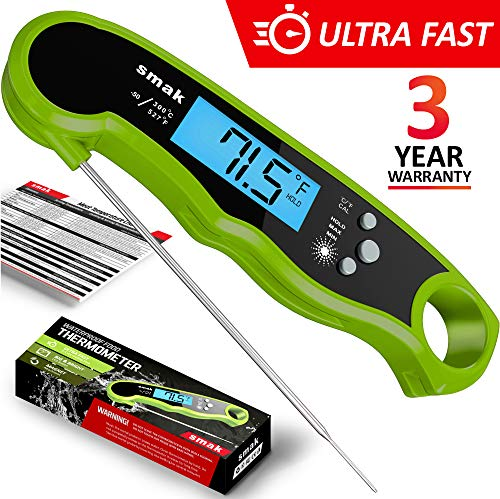 Digital Instant Read Meat Thermometer - Waterproof Kitchen Food Cooking Thermometer with Backlight LCD - Best Super Fast Electric Meat Thermometer Probe for BBQ Grilling Smoker Baking Turkey (Lime)