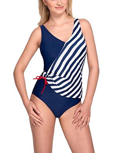 Vivisence 3103 Banador De Una Pieza Blando Con Estampado De Rayas Para Mujeres Tirantes Regulables Con Aros - Hecho En La UE azul marino-blanco