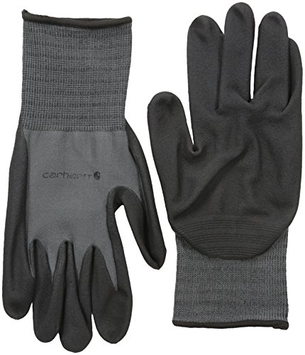 (Carhartt Men's All Purpose Micro Foam Nitrile Dipped Glove, Gunmetal, Small)