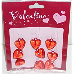Valentine Acrylic Heart Ornaments - 9 Pc