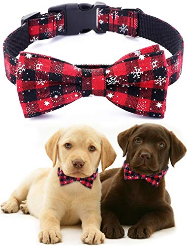Freezx Dog Collar with Bow Tie - Adjustable 100% Cotton Nylon Design Handmade - Cute Fashion for Large Medium Small Dogs
