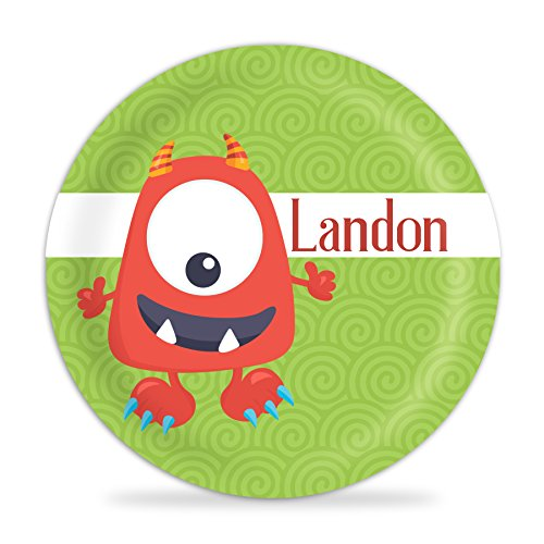 - Monster Plate - Red Monster Melamine Personalized Name Plate