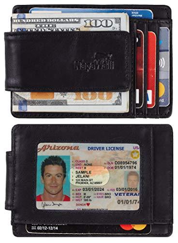 NapaWalli Genuine Leather Magnetic Front Pocket Money Clip Wallet RFID Blocking (Vintage ()