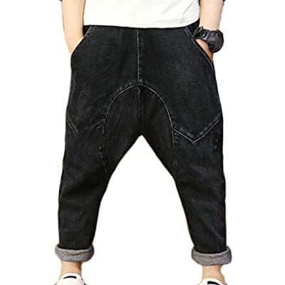 Fulok Boys' Winter Fleece-Lined Elastic Waist Baggy Denim Jean Pants