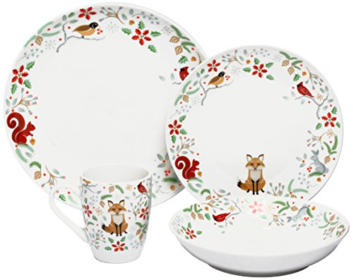Melange 16 Piece Winterberry Porcelain Place Setting Serving for 4 Dinnerware, White