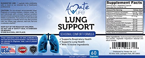Amate Life Lung Support Dietary Supplements- Herbal Breathing Support- 10 Active Ingredients- Original Formula for Lung Health- Lung Cleanse Formula- Supplement for Bronchial System- 60 Caps- Non GMO by Amate Life (Image #6)