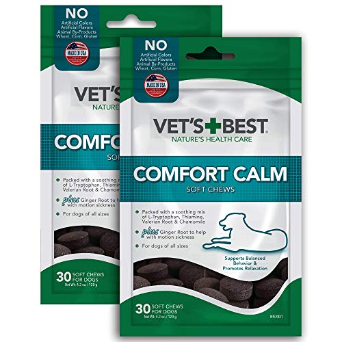 Vet's Best Comfort Calm Calming Soft Chews Dog Supplements, 30 Day Supply (2 Pack)