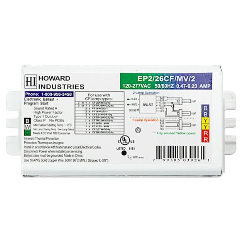 Howard EP2/26CF/MV/K - (2) Lamp Fluorescent Ballast - 26 Watt CFL - 120/277 Volt - Programmed Start - 1.04 Ballast Factor (2 Lamp 26 Watt Ballast)