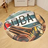 Gzhihine Custom round floor mat Vintage Processed Photo Travel to Cuba Concept Background