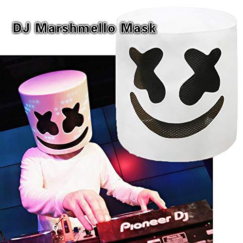 (DJ Marshmello Mask, Marshmello Helmet Cosplay Costume Carnaval Halloween Prop Latex Masks for Adults and)