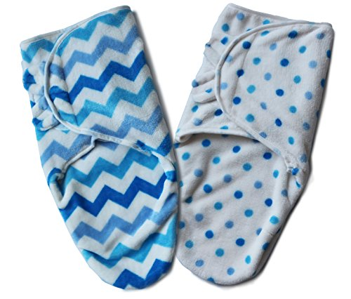 Fleece Baby Patterns - Bisdis Swaddle Blanket - Super Soft Easy Adjustable Infant Wrap - Set of 2 Chevron and Polka Dot Pattern for Baby Boy - Small