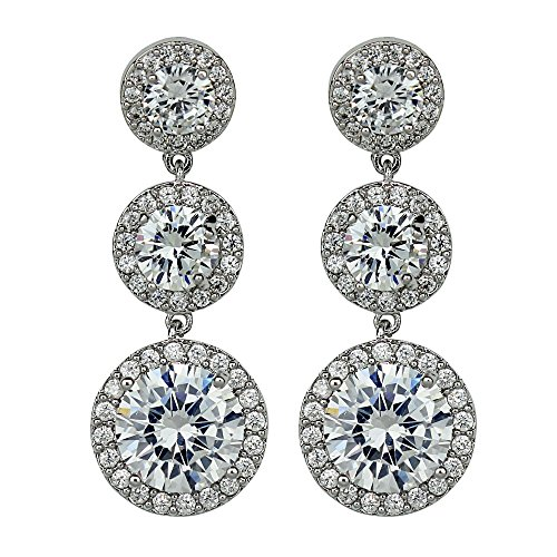 Cubic Zirconia Three Tier Circle Dangle Earrings, Silver Post Silver