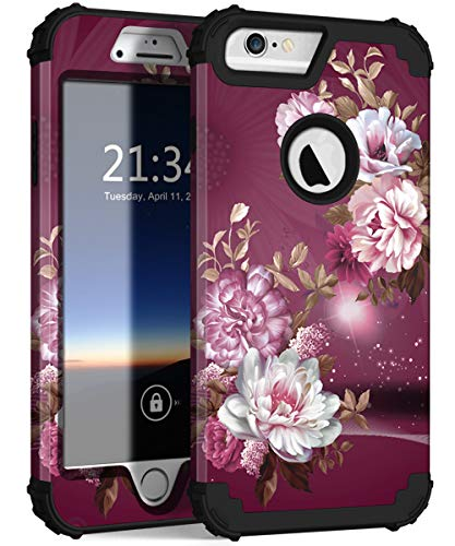 "iPhone 6s Plus Case, iPhone 6 Plus Case, Hocase Heavy Duty Shockproof Protection Hard Plastic+Silicone Rubber Protective Case for iPhone 6 Plus/6s Plus w/ 5.5"" Display - Royal Purple/White Flowers"