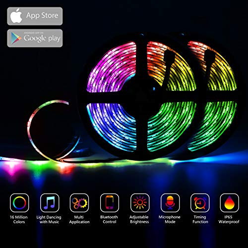 GUSODOR LED Strip Lights RGB Strips 328ft Tape Light 300 LEDs SMD5050 Waterproof Music Sync Color