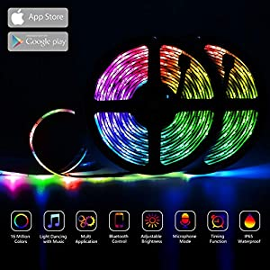 GUSODOR LED Strip Lights RGB Strips 32.8ft Tape Light 300 LEDs SMD5050 Waterproof Music Sync Color Changing + Bluetooth Controller + 24Key Remote Control Decoration for Home TV Party – APP Controlled