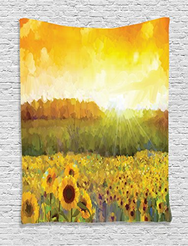 Ambesonne Sunflower Tapestry, Landscape with A Golden Yellow Sunflower Field and Distant Hill Sunset Colors, Wall Hanging for Bedroom Living Room Dorm, 60 W X 80 L Inches, Orange Yellow ()