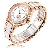 RUNOSD Women's Ceramic Watch, Diamond-Accented 316L Stainless Steel Rose Gold Fully Automatic Mechanical Watch