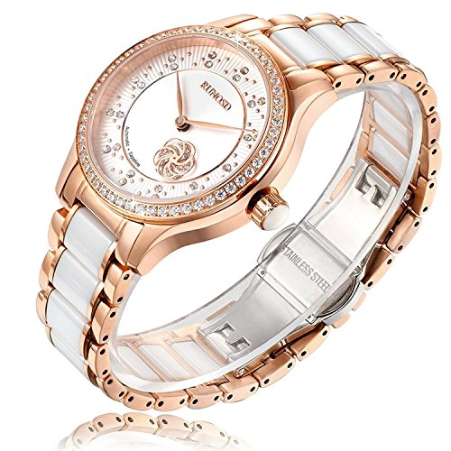 RUNOSD Women's Ceramic Watch, Diamond-Accented 316L Stainless Steel Rose Gold Fully Automatic Mechanical ()