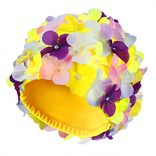 WINOMO Swim Cap Floral Petal Stylish Swimming Hat Bathing Caps for Women (Colorful)