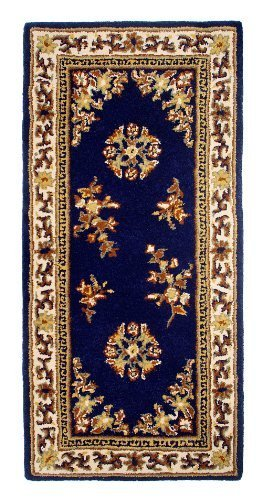 Minuteman International Blue Oriental Rectangular Wool Hearth Rug by Minuteman International