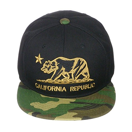 California Republic Bear Logo Flat Brim Adjustable Snapback Hat Cap - Black/Camo (Logo Bear Fashion Cap)