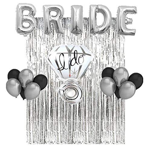 Bachelorette Party Decorations & Bridal Shower Kit! Set Includes: Metallic Silver Bride Foil Balloon,Metallic Silver Ring Foil Balloon, 10 Latex Balloons 5 black & 5 gray, Metallic Silver Fringe Curta