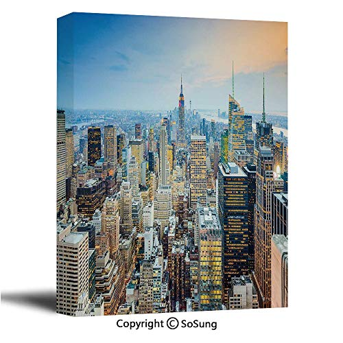 American Canvas Wall Art,New York City Aerial with Skyscrapers Manhattan Urban Architecture Panorama,Giclee Print Gallery Wrap Modern Home Decor Ready to Hang,12x18 inch (Time Difference From New York To Las Vegas)