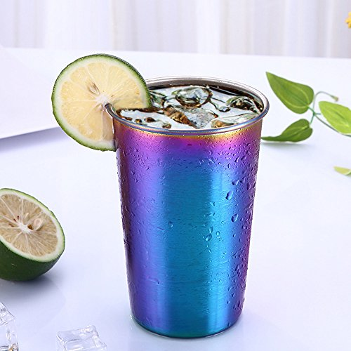 HANANei Multilcolor Stainless Steel Cup for Drinking Juice Beer Glass Portion Cups home Travel Picnic ()