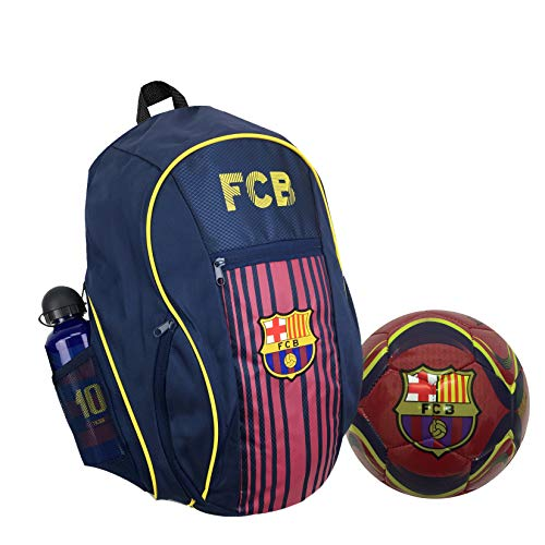 FC Barcelona Backpack with a Barcelona Ball Size #5 and one Messi Metallic Bottle
