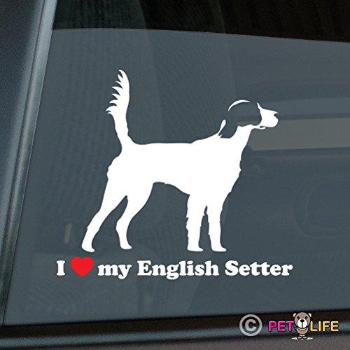 (Mister Petlife I Love My English Setter Sticker Vinyl Auto Window)