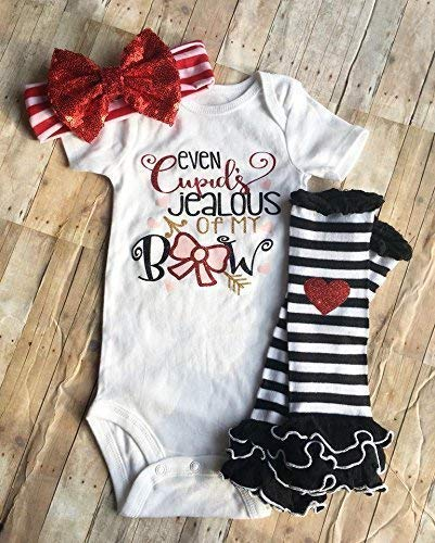f5b24ed9e Amazon.com: Even Cupids Jealous of My Bow, Baby Girls First Valentines  Outfit, Girls Valentines Day Outfit, Black and Red Outfit, Baby Holiday  Bodysuit: ...