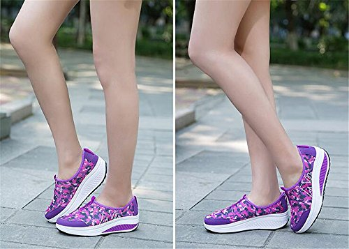 Breathable Work Women's Slip Mesh On Luxury Fitness Purple Platform Shoes Out Sneaker EA8qdcw