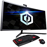 Cyberpower PC A34C Arcus 34 Curved All-In-One Desktop, 3440 x 1140 Ultra WQHD Display, Intel Quad-Core i5-6500 3.2GHz, 8GB DDR4 Memory, 512GB SSD, NVIDIA GTX 950 2GB Video, Windows 10, Black