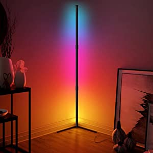Led Corner Lamp - JFIEEI 300+Multicolor Corner Floor Lamp,Corner Light with Romote Control, RGB Color Changing Lamp with 16 Million Colors, Modern Standing Lamps for Home Decor (Straight Corner Lamp)