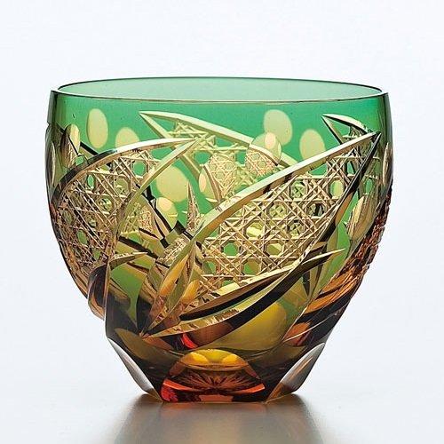 Saika Kiriko Glass Tumbler Round GREEN by SAKE-TALK (Image #4)