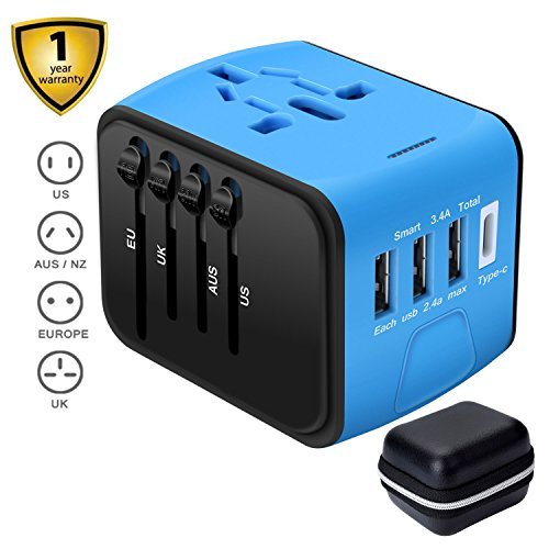 Travel Charger,Universal Travel Adapter,All-in-one International USB Travel Adapter with High Speed 2.4A 4-port USB Charger Worldwide AC Wall Outlet Plugs for For business travel of US, EU, UK, AU 200