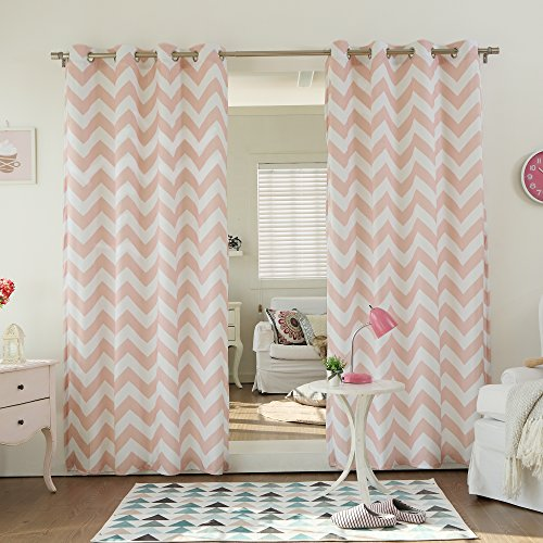 Best Home Fashion Chevron Print Velvet Curtains – Stainless Steel Nickel Grommet Top – Pink – 52″W x 84″L – (Set of 2 Panels) Review