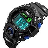Men S Shock Sport Watch Talking Music Alarm Clock LED Digital Watches Outdoor Men Military Shockproof Waterproof Watch (Blue)