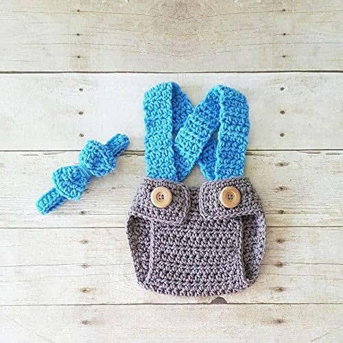 Amazon com: Crochet Baby Diaper Cover Suspenders Overalls