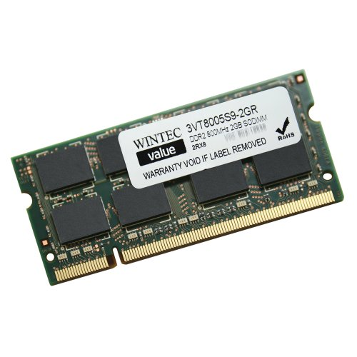 Wintec Value MHz 2GB SODIMM Retail 2Rx8 2 Not a Kit (Single) DDR2 800 (PC2 6400) 200-Pin SO-DIMM 3VT8005S9-2GR by Wintec (Image #1)