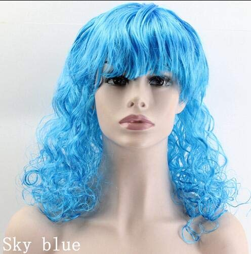 50CM Synthetic Hair Wig Body Wave Halloween Masquerade Cosplay Stage Show Costume Party Wig 20 Color Available Blue 20inches ()
