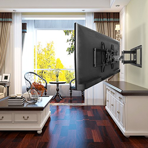 mounting dream premium full motion tv wall mount bracket fits 16 18 24 inch wood stud spacing. Black Bedroom Furniture Sets. Home Design Ideas