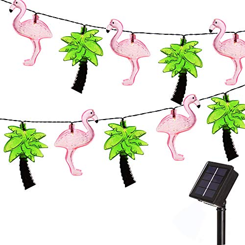 Obrecis 10 LED Flamingo and Palm Tree Solar String Light Outdoor Waterproof, Novelty Lamp for Patio, Party, Tree, Yard, Garden Decorations -10.7ft (Flamingo & Palm Tree)