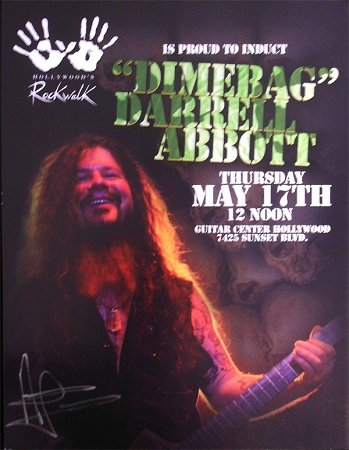 Dimebag Darrell Abbott Signed Rockwalk Induction Poster
