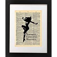 Wonder Woman Art - Confident Beautiful Powerful Quote - Vintage Dictionary Print 8x10 inch Home Vintage Art Abstract Prints Wall Art for Home Decor Wall Decorations Ready-to-Frame